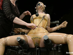 Mz Berlin works over two cute, submissive sweeties in her dungeon