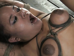 A dark-skinned cutie is fucked and fingered until she squirts everywhere