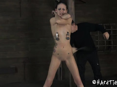 A petite stunner is made to cry out in pain during punishment