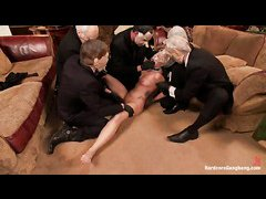 Blonde slut Zoey Monroe is gangbanged by dudes in costume