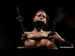 Tricia Oaks wriggles and writhes as her sensitive nipples are punished