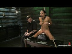 Adrianna Luna struggles with her third day of hardcore slave training