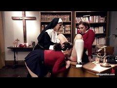 Devious nun Felony punishes bad girls Sarah Shevon and Jodi Taylor