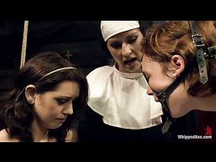 Devious nun Felony punishes bad girls Sarah Shevon and Jodi Taylor