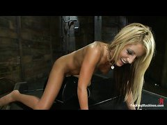New girl Holly Taylor plays with the sybian and her sensitive nipples
