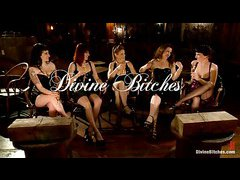 Maitresse Madeline and her femdom friends have fun with John Jammen