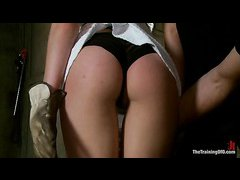 Blonde babe Bailey Blue learns how to be a better slave girl