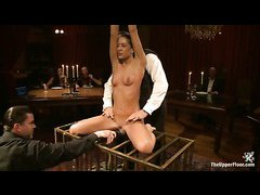 A new slave is given to party guests during her rough initiation