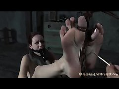 Harsh whipping awaits this delicate brunette's ass and back