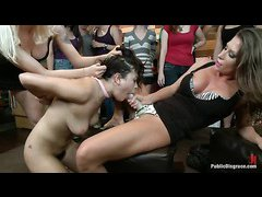 Hairy brat Raven Rockette is dominated by a group of lesbian beauties