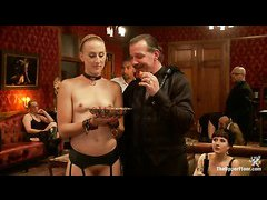 The House's slaves please guests during a sexy book reading