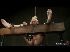 Katie Summers is tied up and dildo fucked until she cums hard