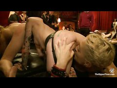 A pretty, new slave babe is introduced to guests of the House