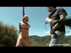 Hotties Krissy Lynn and Cassandra Nix are bound and fucked in the woods