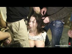 Busty Russian teen Marina Visconti is bound and gangbanged