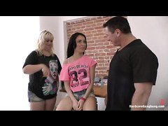 Tiny beauty Sandra Luberc is gangbanged in all of her holes