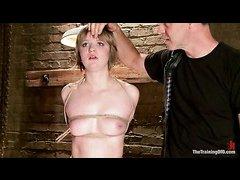 Alani Pi's first slave training session involves bondage and pussy pain