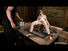 Alani Pi's first slave training session involves bondage and pussy pain