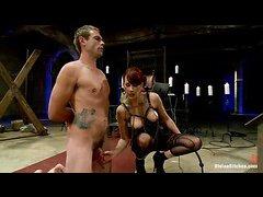 Busty Maitresse Madeline makes hot hunk John's life a femdom hell