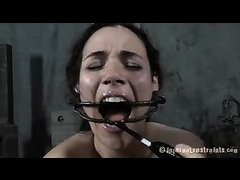 A sexy brunette is humiliated before she's bound and punished