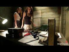 Bobbi Starr teaches lesbians Sensi Pearl and Lizzy London a shocking lesson