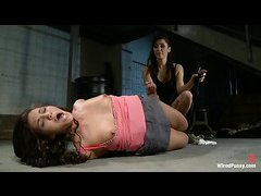 Princess Donna Dolore has fun shocking bound babe Jade Indica