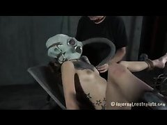 A brunette is humiliated with feet caning, breathplay and face slapping