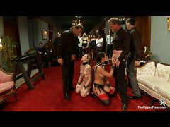 Slave bitches Bailey Blue and Penny Barber rush to please