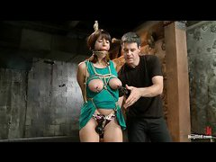 Nina Lopez's big, delicious boobies are clipped and caned