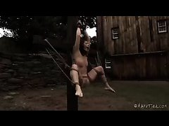 Cici Rhodes moans she's tormented while bound outdoors