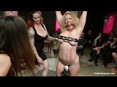 Busty babe Darling is tied up, clamped and fucked until she screams