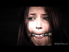 Alyssa Branch squeals as she is tied and brutally whipped
