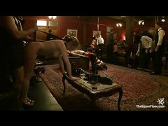 Gorgeous slave babes stretch their tiny pussies with big toys
