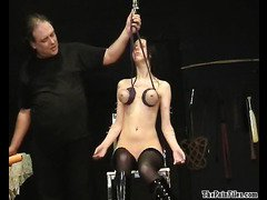 Piercing torture and tit hanging bdsm of busty slave girl Emily Sharpe