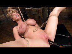Incredibly busty blonde Carissa Montgomery tied and tormented