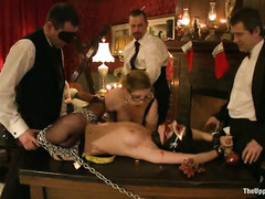 The taming of wild and lusty young slaves during explicit orgy party
