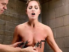 Lovely blonde receives exquisite punishment for her delightful tits and cunt