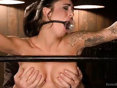 Gagged and bounded beauty fulfills master's lusty needs with her hot body