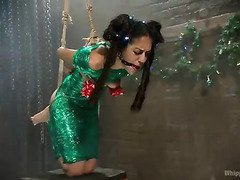 Sexy mistress gives pretty dark-haired slave an unforgettable Christmas gift