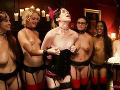 Charming slave beauties are fulfilling the hungry needs of their horny patrons