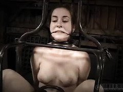Bounded brunette is shedding tears from her sensual punishment