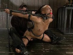 Pricking and painful pegging punishment for stunning ebony sweetheart
