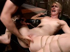 Mind-blowing orgasms punishment for gagged and bounded blonde sweetheart