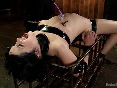 Dark-haired babe receives explosive punishment for her lusty pussy and perky tits