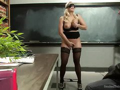 Big tits teacher submits to her horny student's lusty and raucous demands