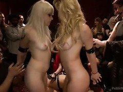 Lovely blonde slaves are satisfying the wild demands of a lusty birthday princess