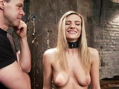 Tough and delightful hardcore training for naughty blonde slave