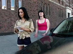 Demure sweetheart receives wild lesbian domination for escaping a parking fine