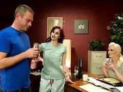 Patient gets some lusty and kinky help from two hospital staff babes