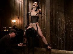 Skinny defiant beauty endures master's raucous and wild punishment